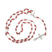 Sterling Silver Rosary With Red Rondelle Crystal Beads