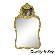 Vtg Gold Giltwood French Victorian Style Wall Mirror With Painted Courting Scene