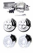 Wilwood Black Drilled Slotted Disc Brake Kit 2 Drop Chrome Booster Master Cyl.