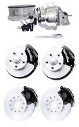 Wilwood Black Front And Rear Disc Brake Kit 2 Drop W/ Chrome Booster Master Cyl.