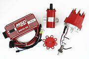 Red Bbf 351c 429 460 Msd Ignition 6al Box Tsp Pro Billet Distributor And Coil Ford