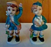 Vintage Ceramic Hummel Girl Holding Rabbit And Boy With Horn Figurines