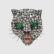 Nib Authentic Signed Crystal Encrusted Angry Cat Head Brooch Pin Sold Out