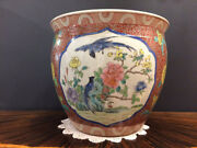 14 Tall Antique Palatial Size Chinese Family Rose Porcelain Fish Bowl