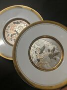 2x The Art Of Chokin Collectors Plates Etched 24k Gold Edged 7.75 Wagon And Birds