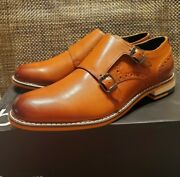 Bar Lll Jesse Leather Monk-strap Oxfords Dress Shoes In Tan. Size 8.5. Mrp 110