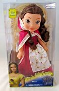 Disney Beauty And The Beast Belle 14 Toddler Doll W/red Dress/cape New