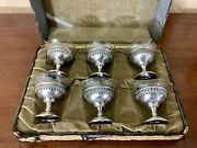 Antique Sterling Silver Glass Lined Compote In Case Late 19th Century