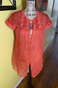 Vintage Vanity Fair Red Coral Baby Doll Lace Sheer Nylon Negligee Peignoir Usa