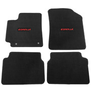 For 09-11 Toyota Corolla Floor Mats Carpet Front And Rear Black W/ Red Corolla