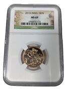 2013 Gold India Sovereign Certified By Ngc Ms 69 Queen Elizabeth Coin Rare 1sov