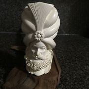 Turkish Meerschaum Pipe Face Hand Carved Smoking Tobacco Pipe And Zippo Lighter