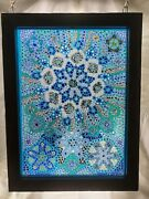 Paperweight Stained Glass Window Multicolored In Wooden Frame