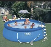 Intex 15x42 Inflatable Easy Set Above Ground Swimming Pool /ladder And Pump Inhand