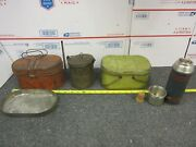 Lot Of 3 Vintage Metal Lunchboxes And A Keapsit Glass American Thermos Bottle