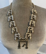 Vintage Sterling Silver Squash Blossom Necklace And Earring Set