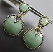 .97ct Diamond And Aaa Green Agate 14kt Yellow Gold 3d Clip On Hanging Earrings