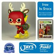 Funko Pop Heroes Dc Holiday Rudolph Flash W/ Popshield Protector In Stock