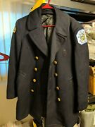 Vintage Chicago Police Dept Blue Wool Overcoat With Cpd Patch And Flag