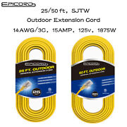 25 Ft/50ft Extension Cord 14/3 Gauge Sjtw Outdoor Heavy Duty Yellow Power Cables
