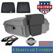 Advanblack Charcoal Denim Chopped Tour Pack Black Hinges And Latch For Harley 97+