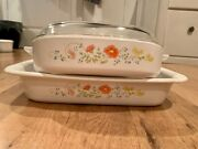 Corning Ware Wildflower Set, Roaster And Casserole Dish 1977-1985 Collection