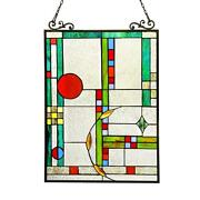 Stained Glass Lighting Window Panel Ch3p700co24-gpn 17.5 X 25 Handcrafted