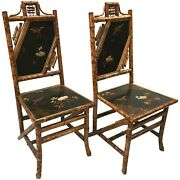 Pair Of English Bamboo Lacquered Side Chairs Circa 1880