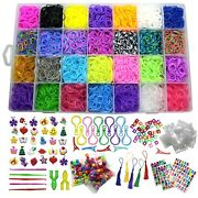 Loom Band Refill Rubber Kit Includes 10000+ Pieces - 28 Loom Band Colors And More