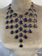 Vintage Lapis And Sterling Silver Necklace