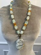 Vintage Aquamarine And Amber Bead Necklace With Carved Jade Pendant