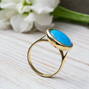 14k Solid Yellow Gold Round 14 Mm Blue Opal Ring - Handmade Jewelry