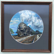 """Ted Xaras Oil On Board 20th Century Limited-new York Central System 26"""" X 26"""""""