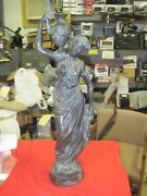 Antique Statue Bronze Women Carrying Wine Made By Maitland-smith Ltd