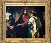 Old Master Art Portrait Christ And Rich Young Ruler Oil Painting Unframed 36x48