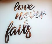 Love Never Fails Words Metal Wall Art Accents Copper/bronze Plated Approx 7x 4