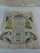 Antique Printed And Hand Colored Tauffchein Reading, Pa. Printer Dated 1837