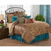 San Angelo Teal Paisley Southwestern Country Cottage King 4-piece Bed Set
