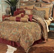 San Angelo Red Paisley Southwestern Country Cottage King 4-piece Bed Set