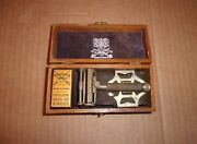Vintage Wilkinson Sword Safety Razor Travel Kit With Wood Box - 3 Blades And Strop