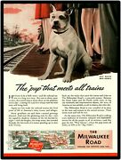 Milwaukee Road Railroad Collectible 1944 Repro Metal Sign With Bull Dog