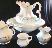 Antique Wood And Sons Royal Semi-porcelain 5 Pc. Bathroom Set - White And Gold