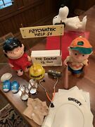 Rare Vintage Peanuts Jointed Dolls Snoopy Charlie Brown Lucy Woodstock Playset