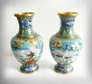 Cloisonné Pair Of Brass Vases - Cranes And Herons With Floral