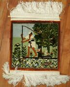 Fine Egyptian Pictorial Silk Fishing Scene Rug Size 1and039x1and0391and039and039