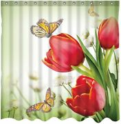 Red Tulip Monarch Butterfly Floral Inspirational Country Fabric Shower Curtain