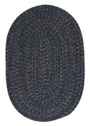 Hayward Heathered Navy Tweed Wool Blend Country Farmhouse Oval Round Braided Rug