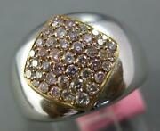 Wide .56ct Pink Diamond 18kt White And Rose Gold Cluster Sideways Pave Square Ring