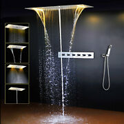 Led 28 Brass Thermostatic Valve Spa Mist Waterfall Showers Head Hand Shower Set