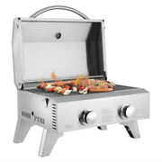 2-burner Stainless Steel Portable Tabletop Gas Grill Outdoor Camping Picnic Bbq